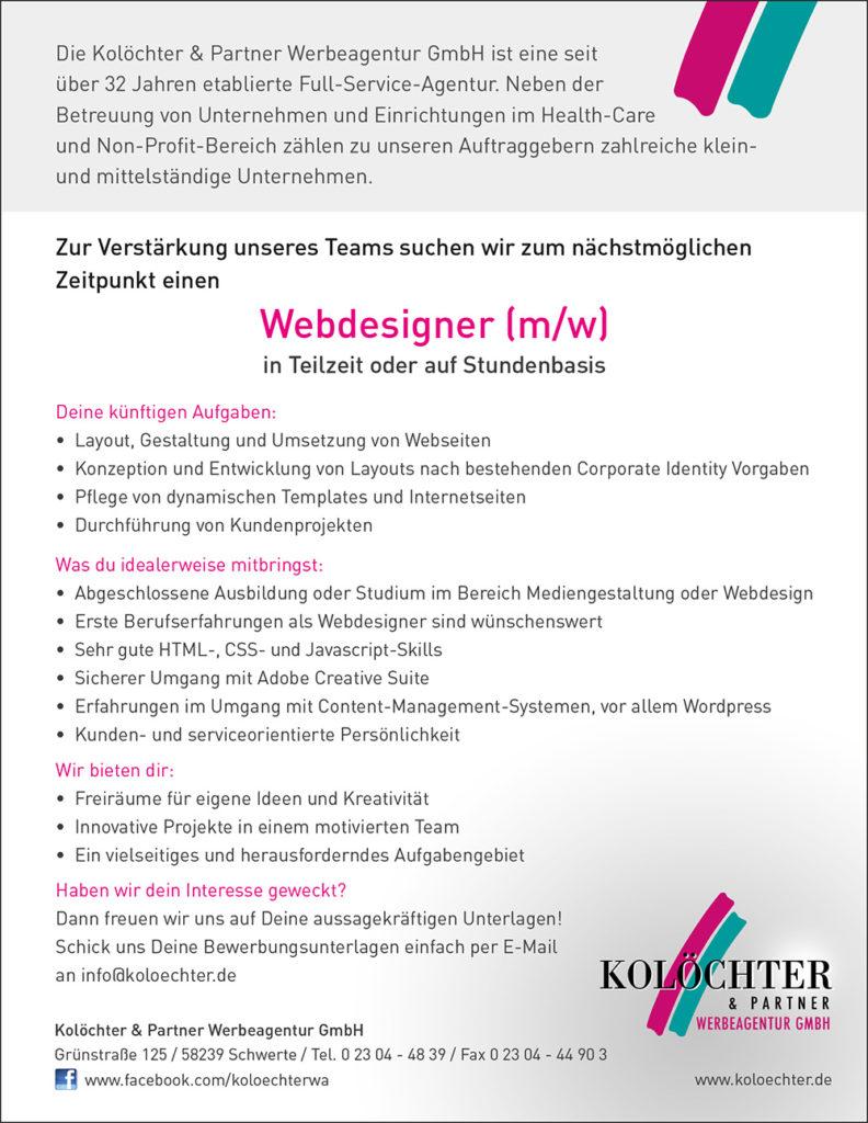 Webdesigner (m/w) gesucht!